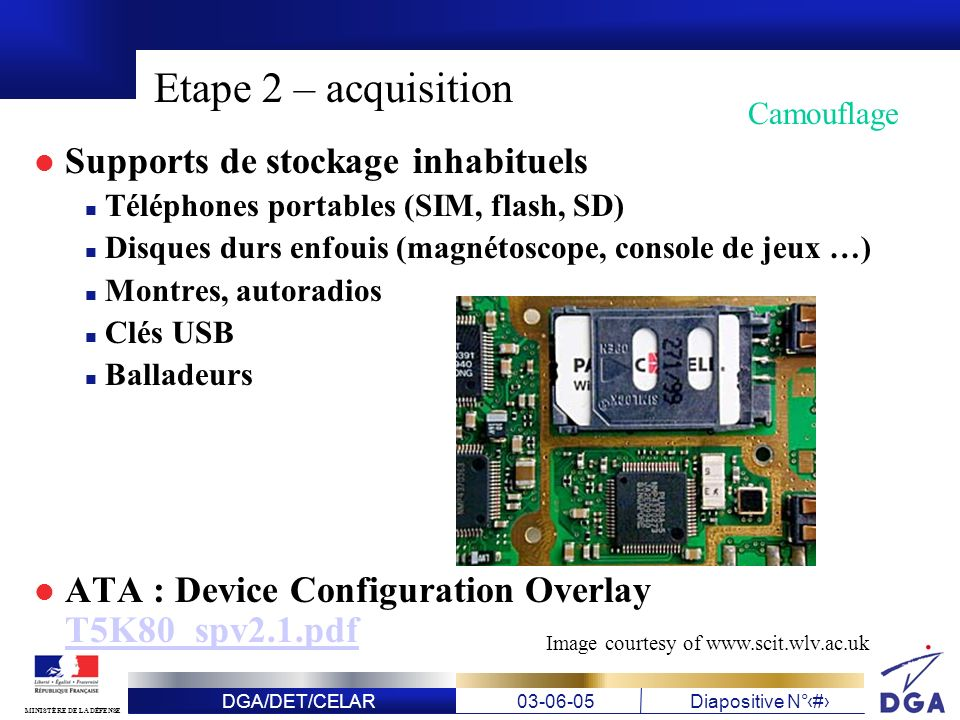 Etape 2 – acquisition Supports de stockage inhabituels