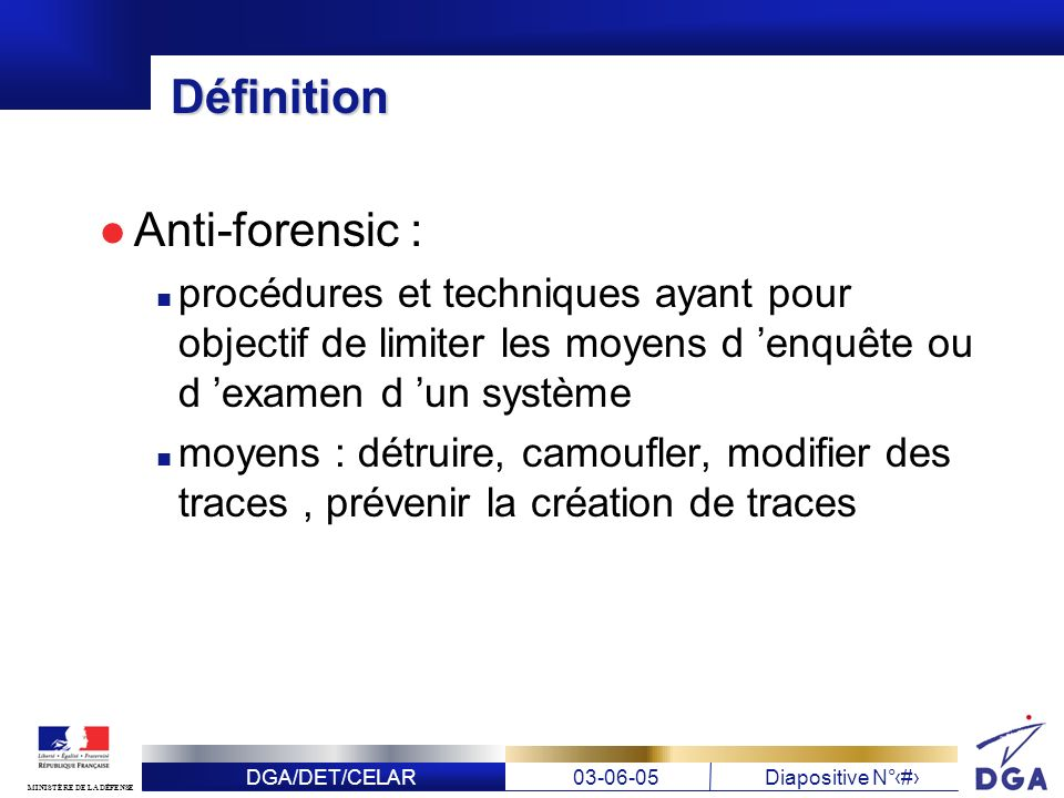 Définition Anti-forensic :