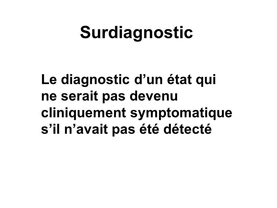 Surdiagnostic Le diagnostic d'un état qui ne serait pas devenu cliniquement symptomatique s'il n'avait pas été détecté.