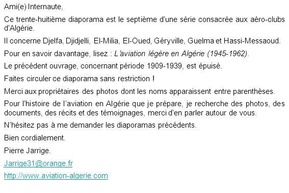 Ami(e) Internaute, Ce trente-huitième diaporama est le septième d'une série consacrée aux aéro-clubs d'Algérie.