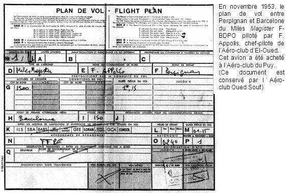 En novembre 1953, le plan de vol entre Perpignan et Barcelone du Miles Magister F-BDPO piloté par F. Appolis, chef-pilote de l'Aéro-club d'El-Oued.