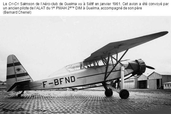 Le Cri-Cri Salmson de l'Aéro-club de Guelma vu à Sétif en janvier 1961