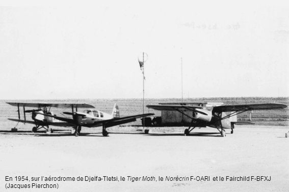 En 1954, sur l'aérodrome de Djelfa-Tletsi, le Tiger Moth, le Norécrin F-OARI et le Fairchild F-BFXJ