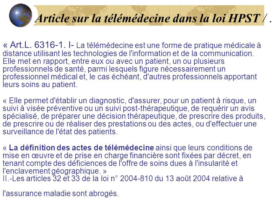Article sur la télémédecine dans la loi HPST / .