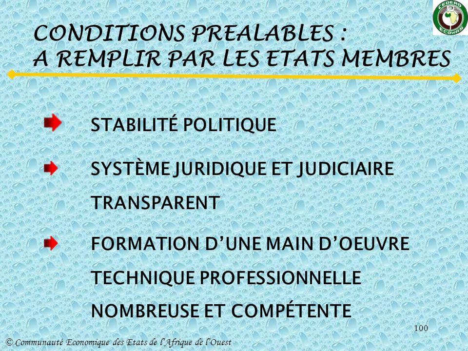 CONDITIONS PREALABLES : A REMPLIR PAR LES ETATS MEMBRES