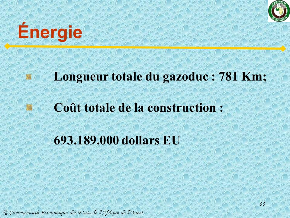 Énergie Coût totale de la construction : 693.189.000 dollars EU