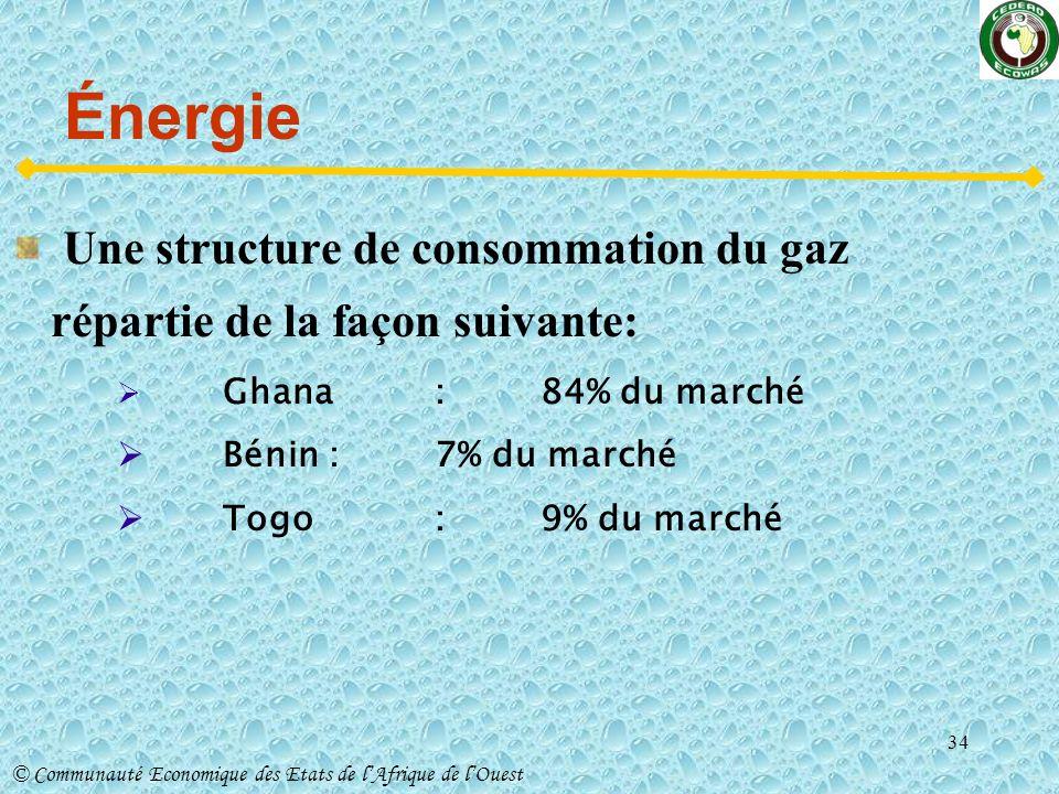 Énergie Une structure de consommation du gaz répartie de la façon suivante: Ghana : 84% du marché.