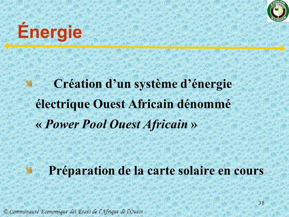 Énergie Création d'un système d'énergie électrique Ouest Africain dénommé « Power Pool Ouest Africain »