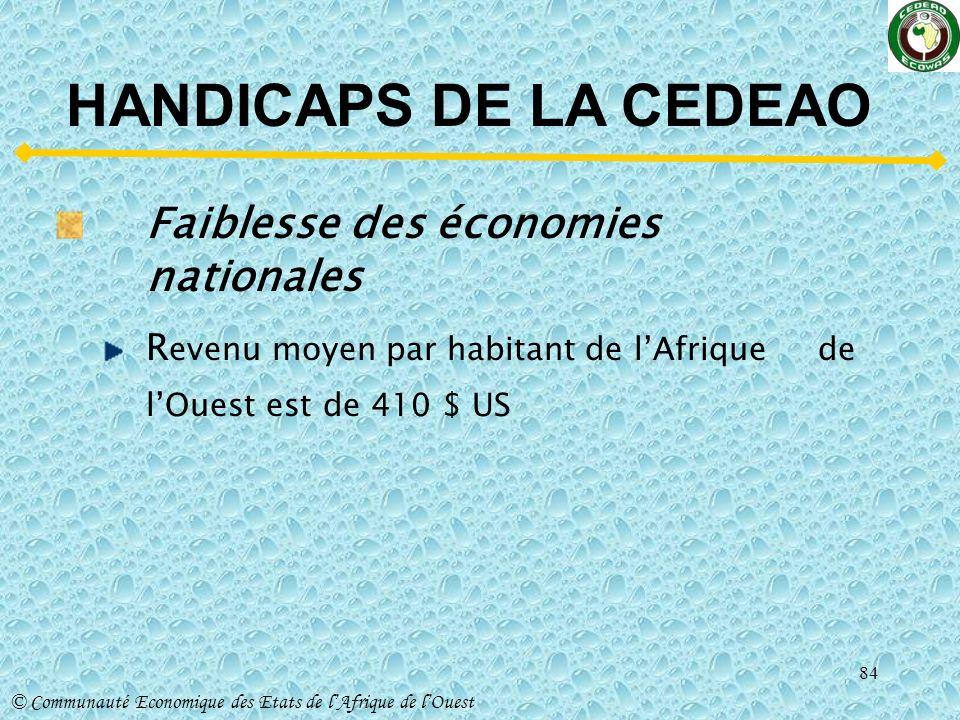 HANDICAPS DE LA CEDEAO Faiblesse des économies nationales