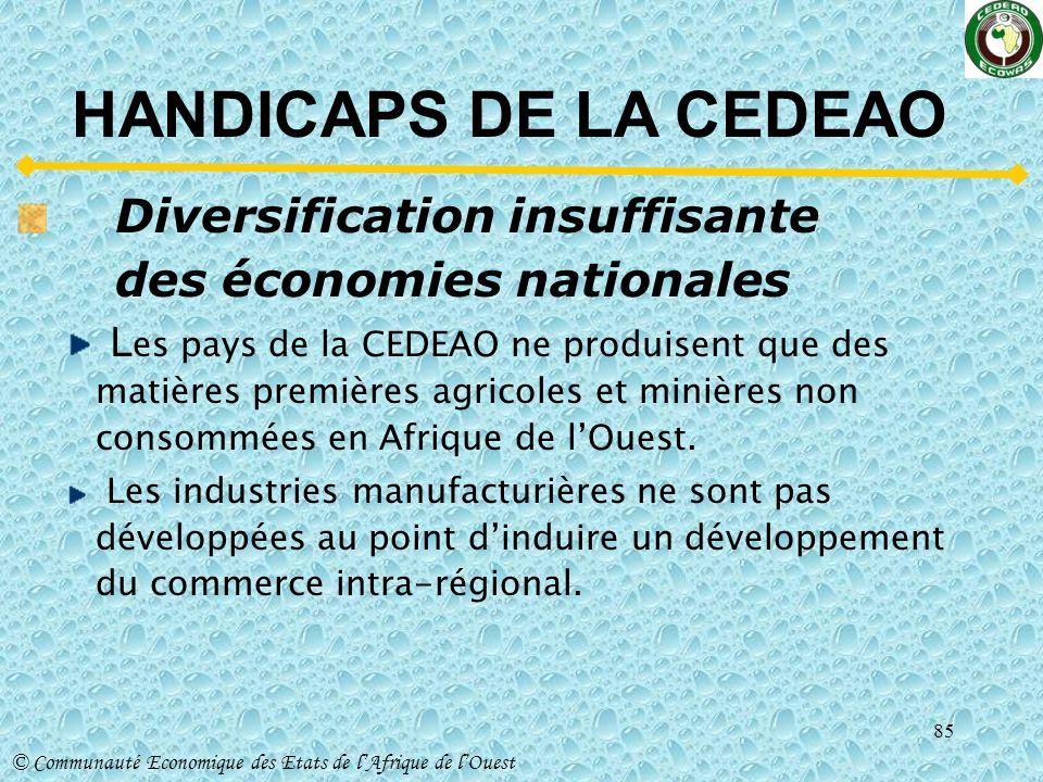 HANDICAPS DE LA CEDEAO Diversification insuffisante des économies nationales.