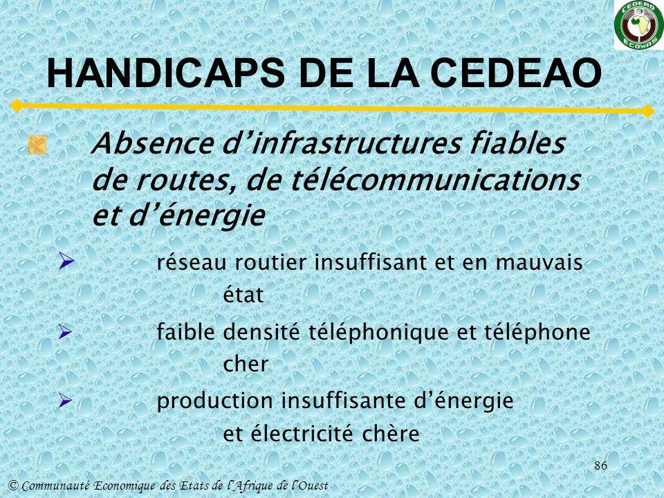 HANDICAPS DE LA CEDEAO Absence d'infrastructures fiables de routes, de télécommunications et d'énergie.