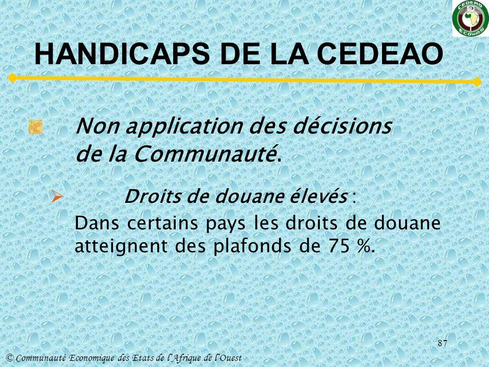 HANDICAPS DE LA CEDEAO Non application des décisions de la Communauté.