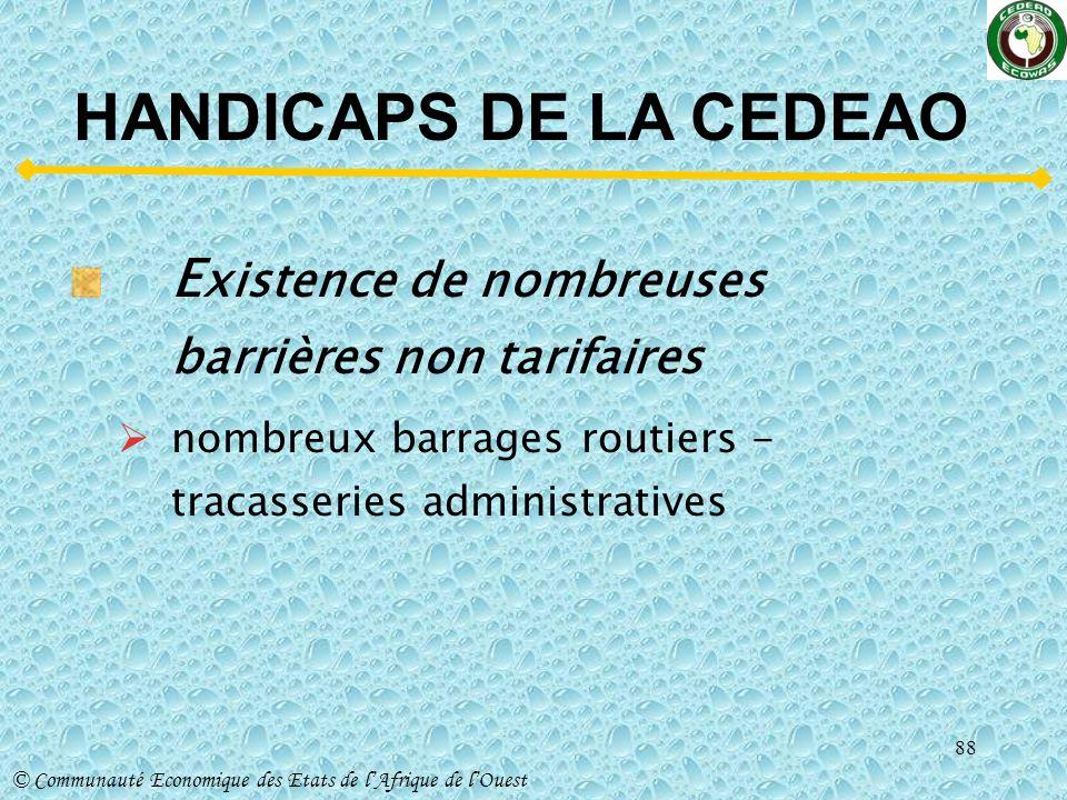 HANDICAPS DE LA CEDEAO Existence de nombreuses barrières non tarifaires.