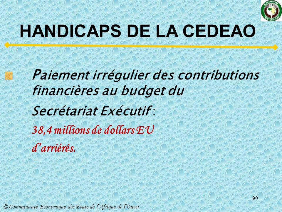 HANDICAPS DE LA CEDEAO Paiement irrégulier des contributions financières au budget du.
