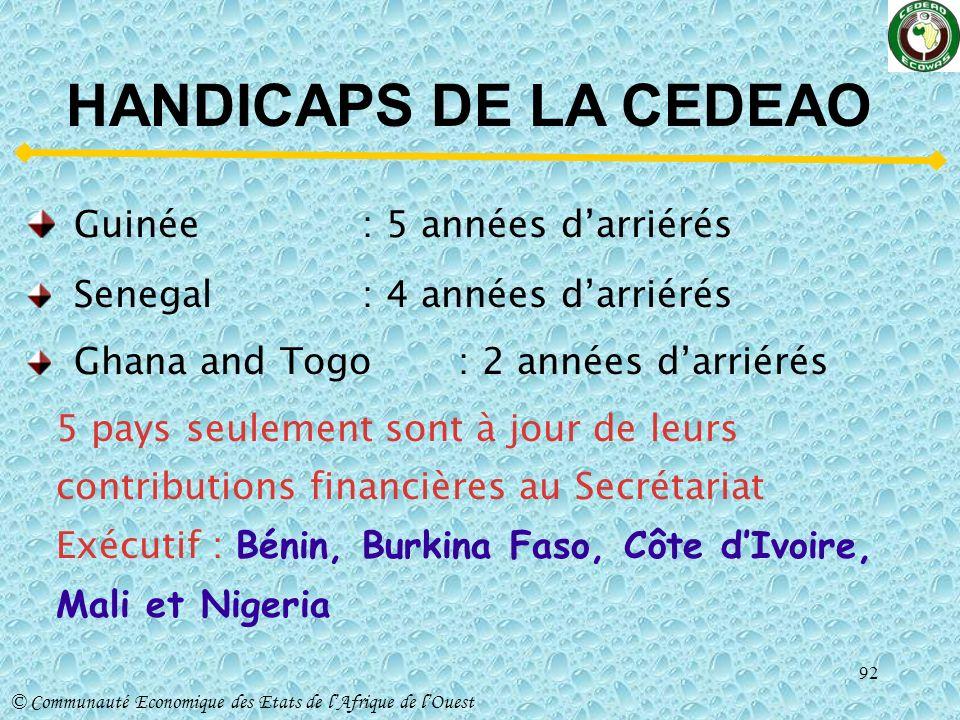 HANDICAPS DE LA CEDEAO Guinée : 5 années d'arriérés