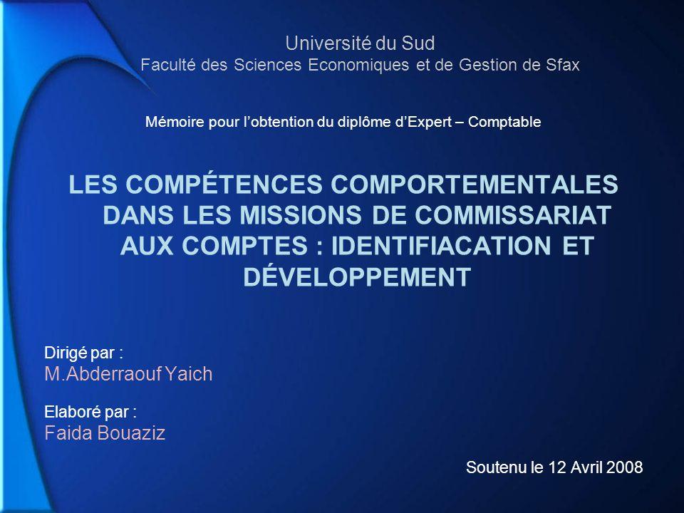 Mémoire pour l'obtention du diplôme d'Expert – Comptable