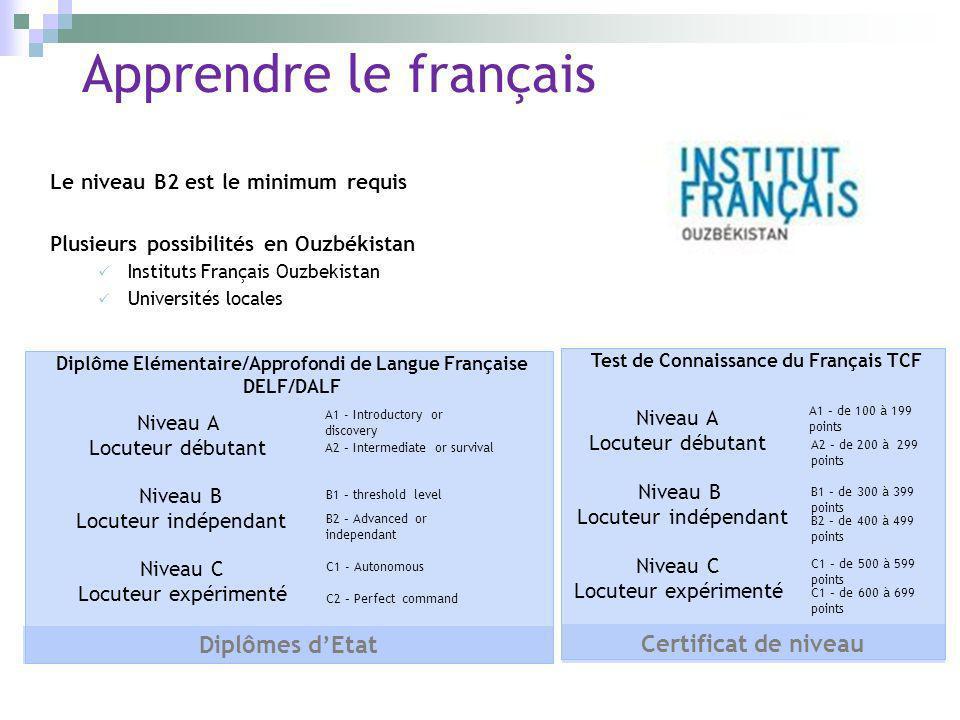 Apprendre le français Diplômes d'Etat Certificat de niveau