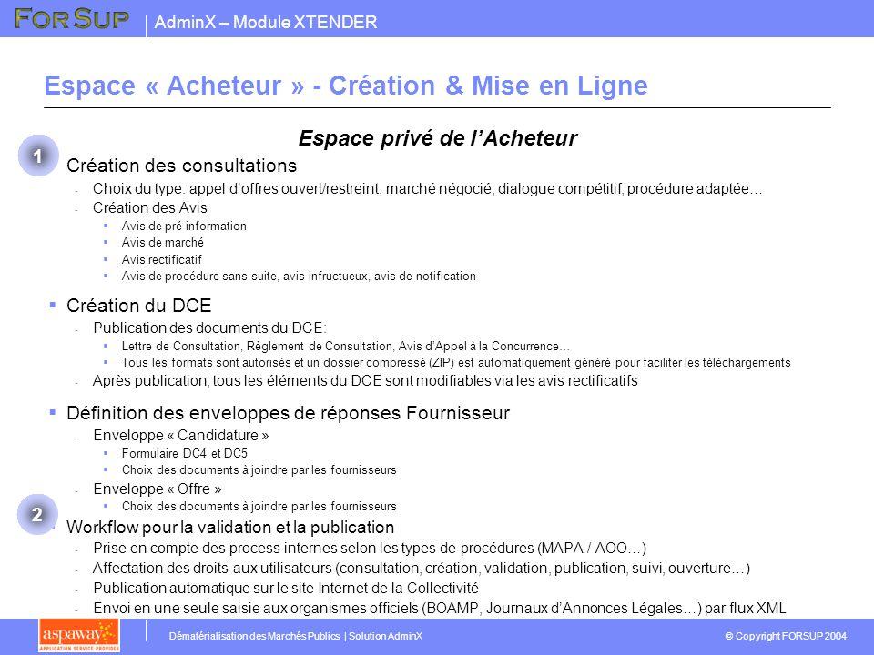 Espace « Acheteur » - Création & Mise en Ligne