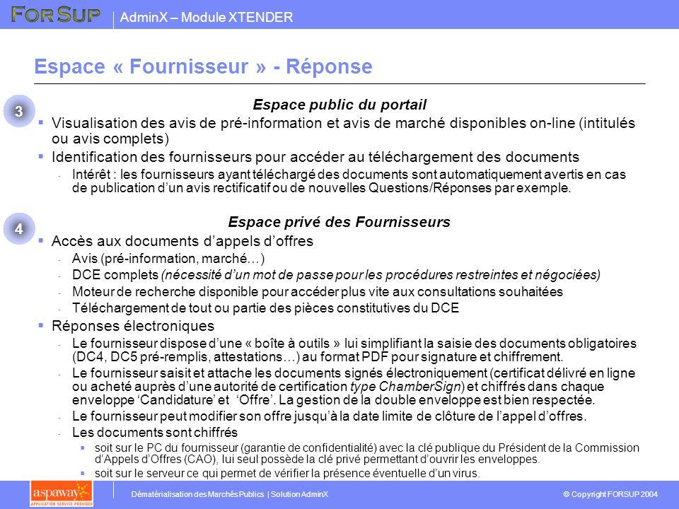 Espace « Fournisseur » - Réponse