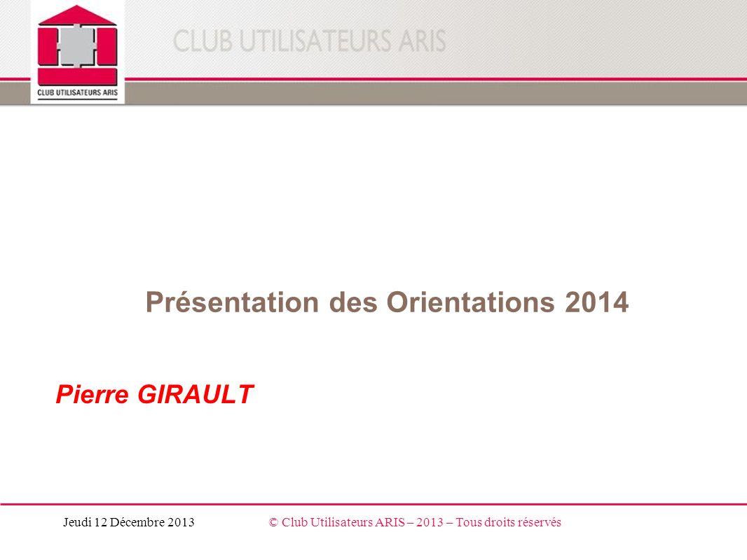 Présentation des Orientations 2014