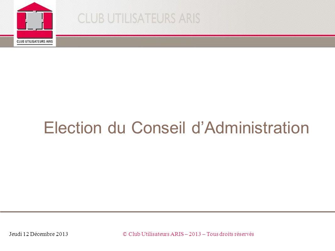 Election du Conseil d'Administration