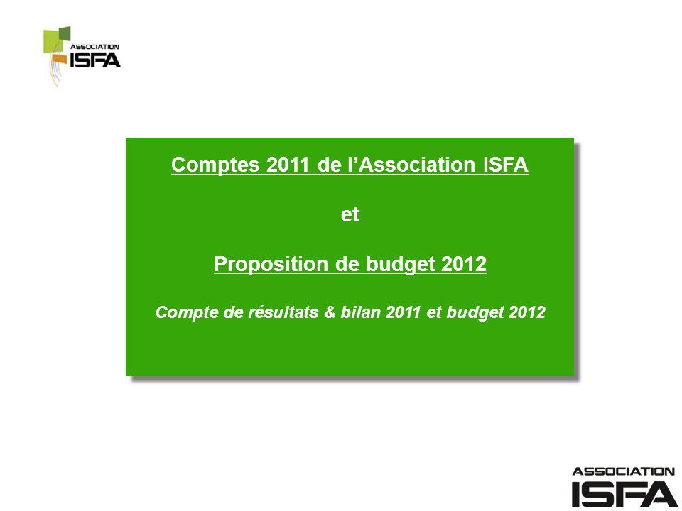 Comptes 2011 de l'Association ISFA et Proposition de budget 2012