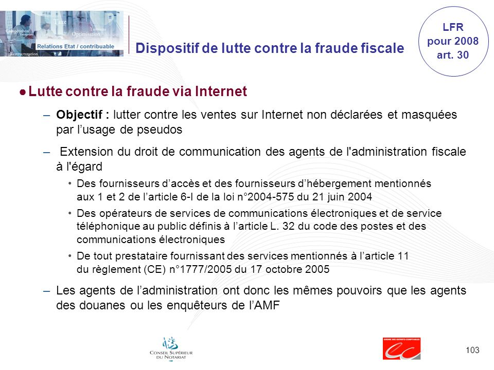 Dispositif de lutte contre la fraude fiscale