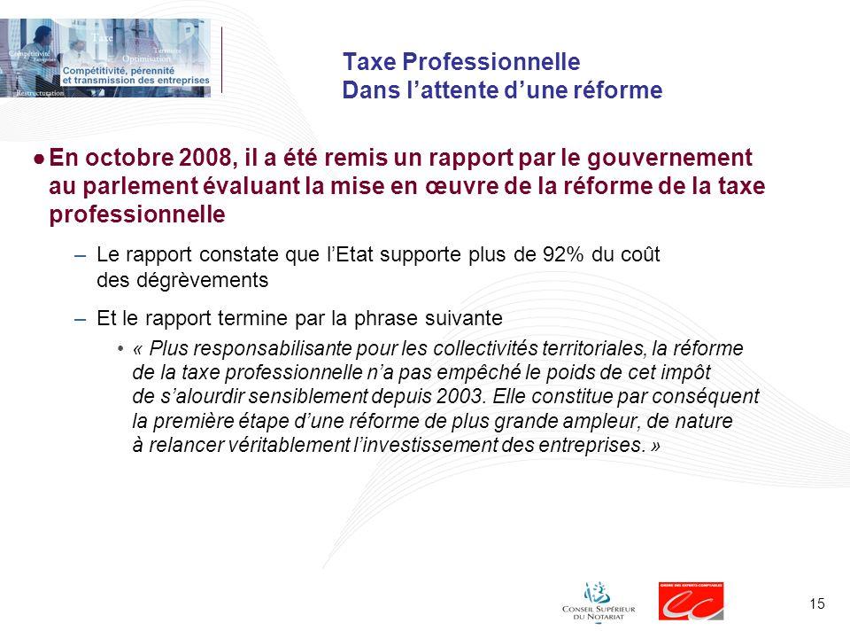 Taxe Professionnelle Dans l'attente d'une réforme
