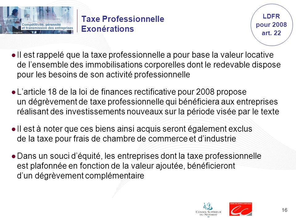 Taxe Professionnelle Exonérations