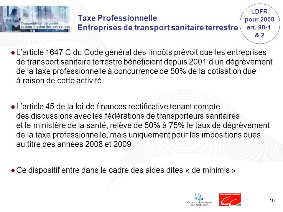 Taxe Professionnelle Entreprises de transport sanitaire terrestre