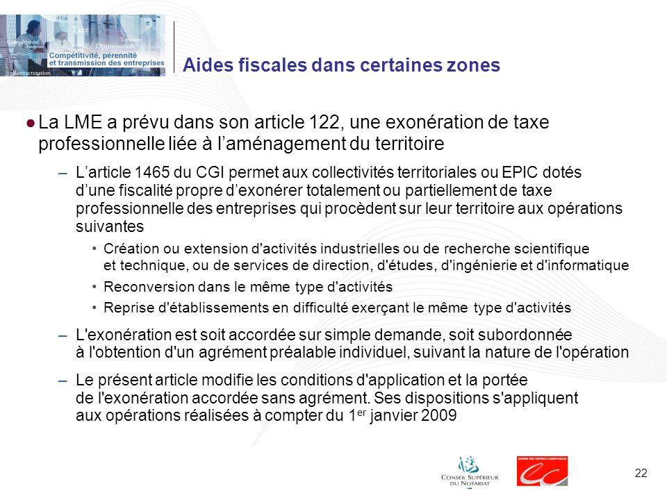 Aides fiscales dans certaines zones