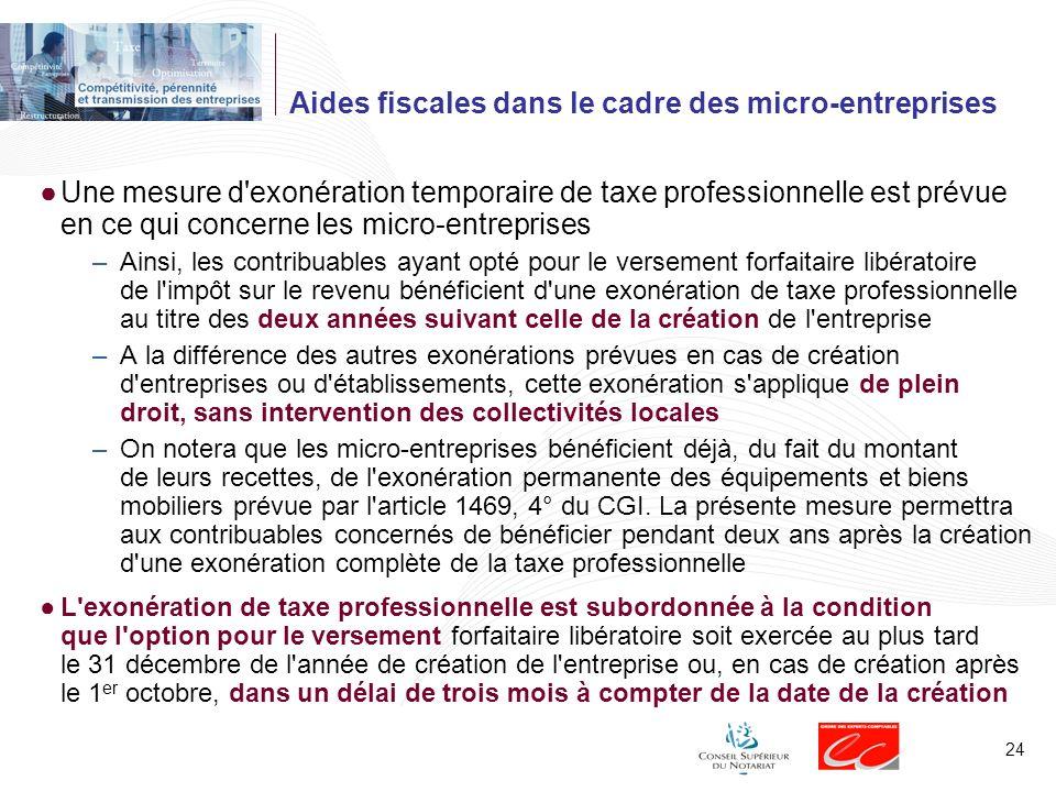 Aides fiscales dans le cadre des micro-entreprises