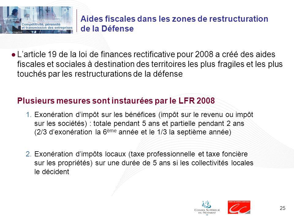 Aides fiscales dans les zones de restructuration de la Défense
