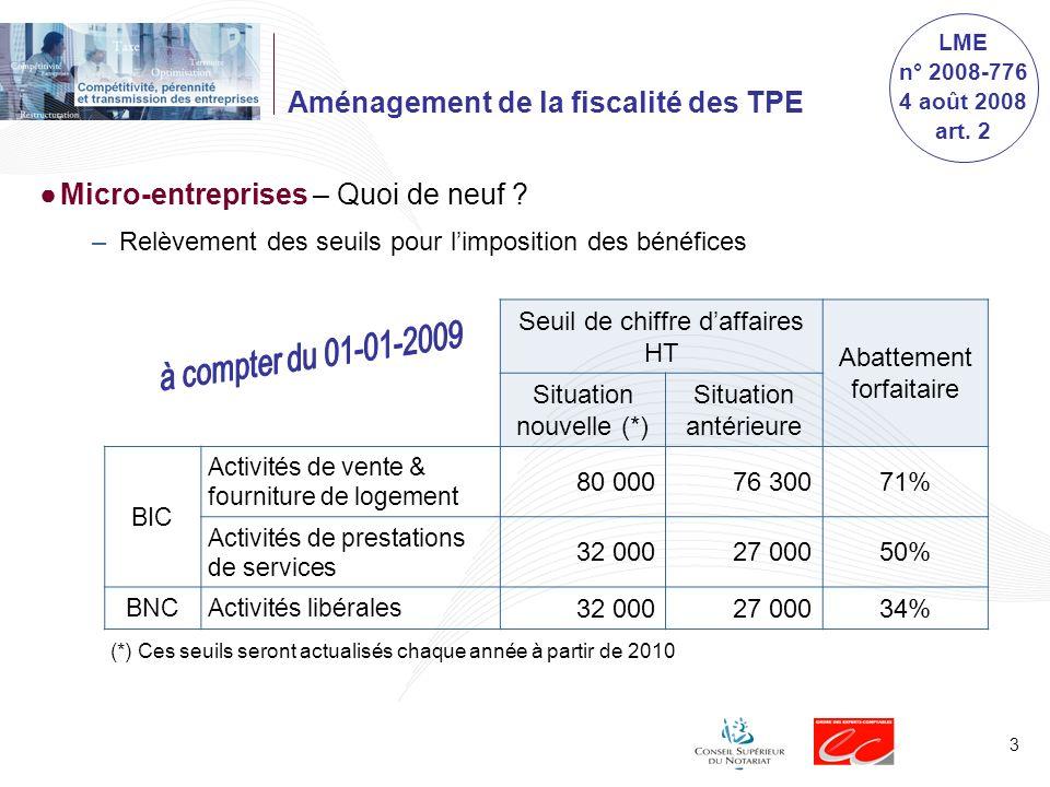 Aménagement de la fiscalité des TPE