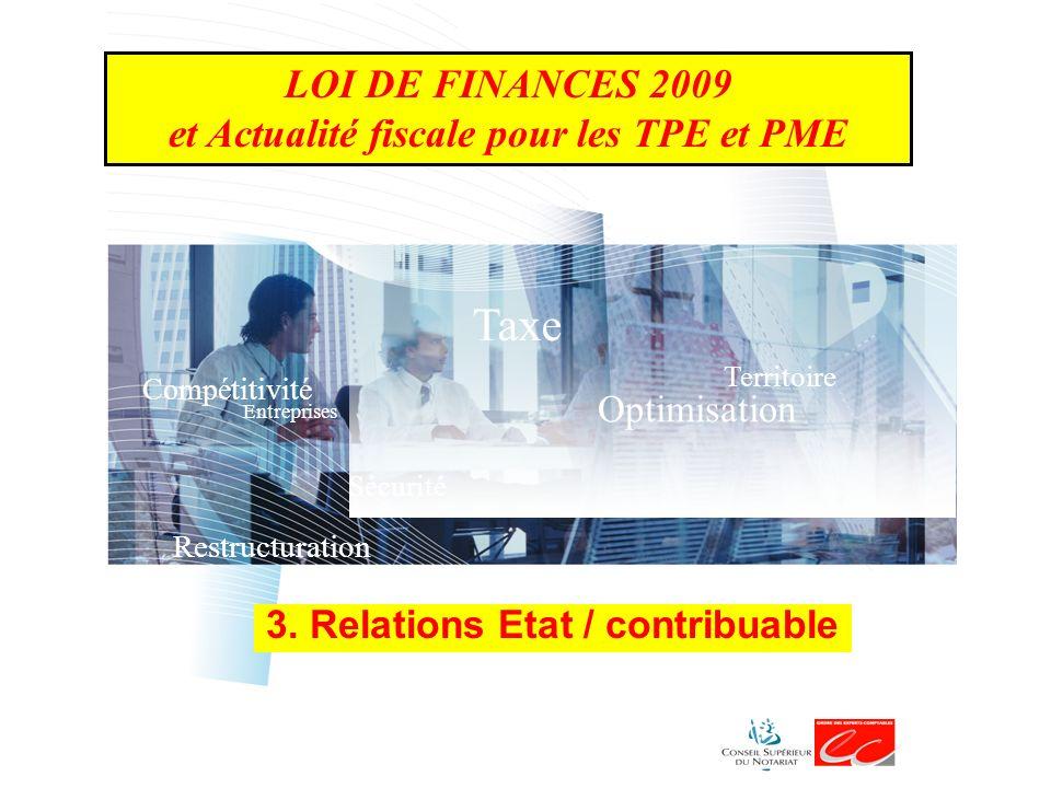 LOI DE FINANCES 2009 et Actualité fiscale pour les TPE et PME