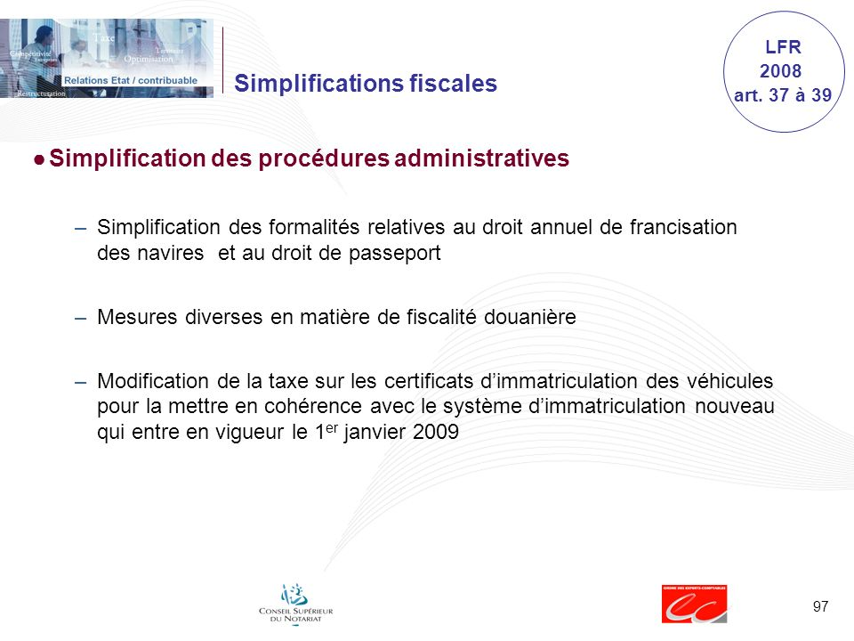 Simplifications fiscales