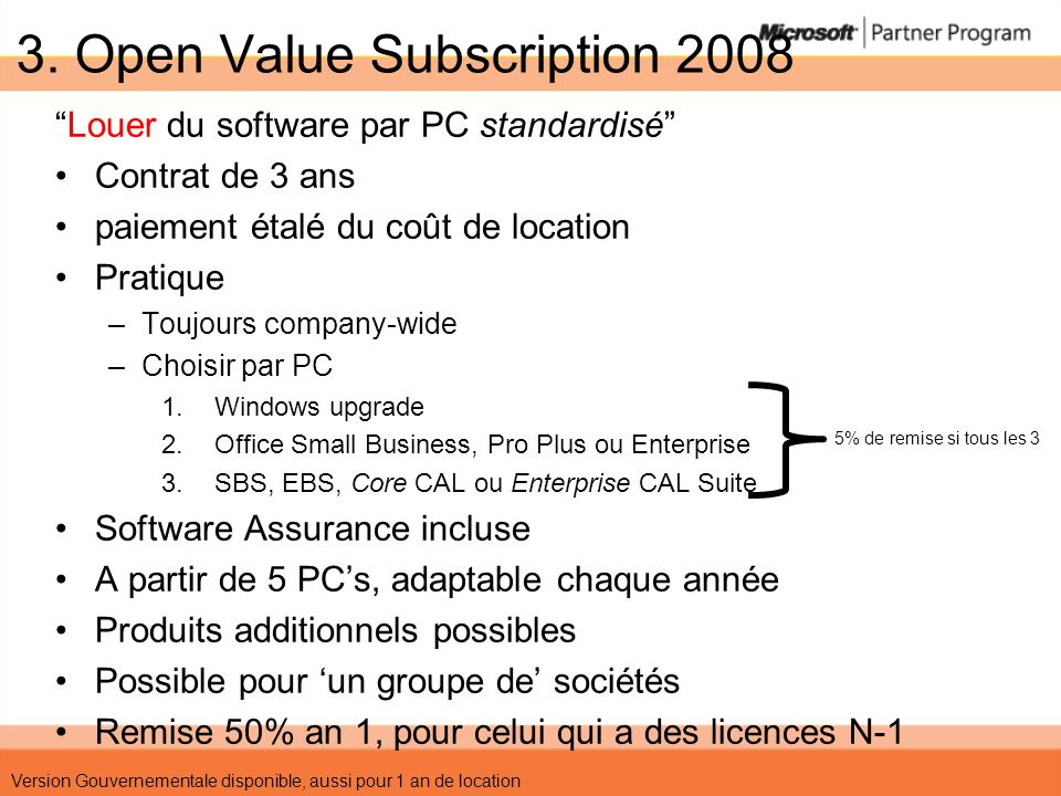 3. Open Value Subscription 2008