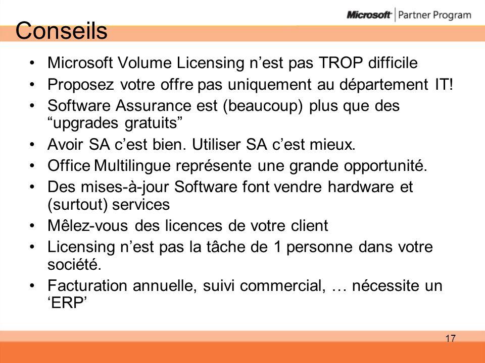 Conseils Microsoft Volume Licensing n'est pas TROP difficile