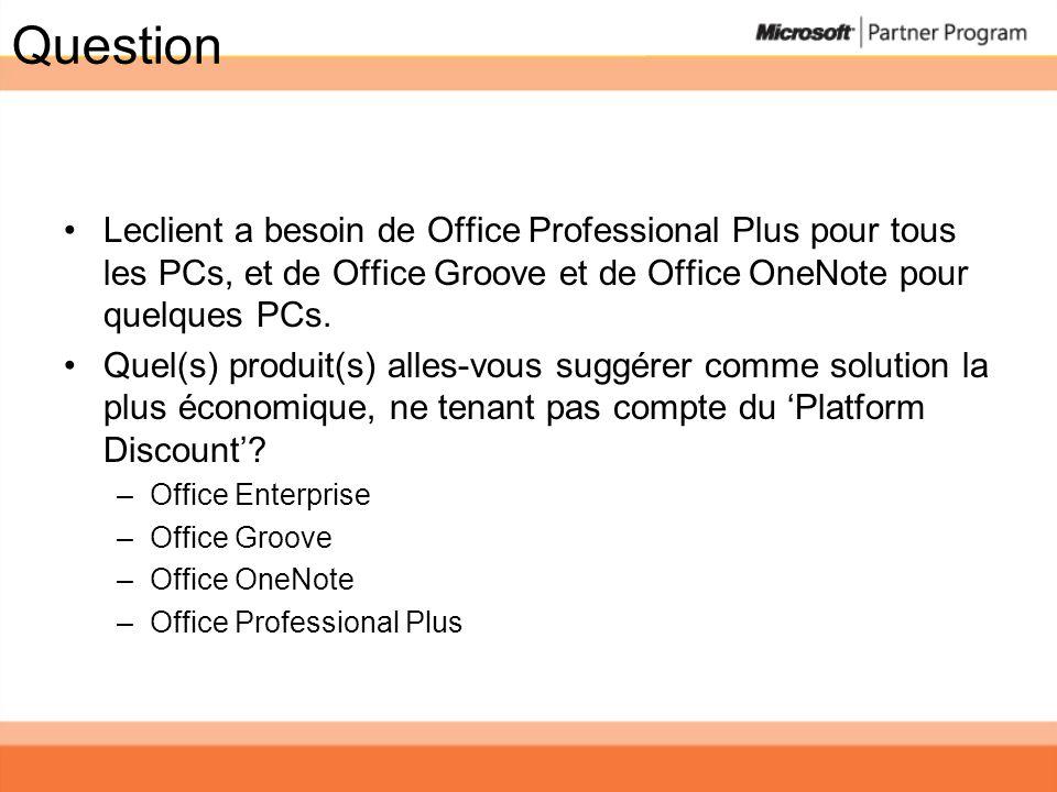Question Leclient a besoin de Office Professional Plus pour tous les PCs, et de Office Groove et de Office OneNote pour quelques PCs.