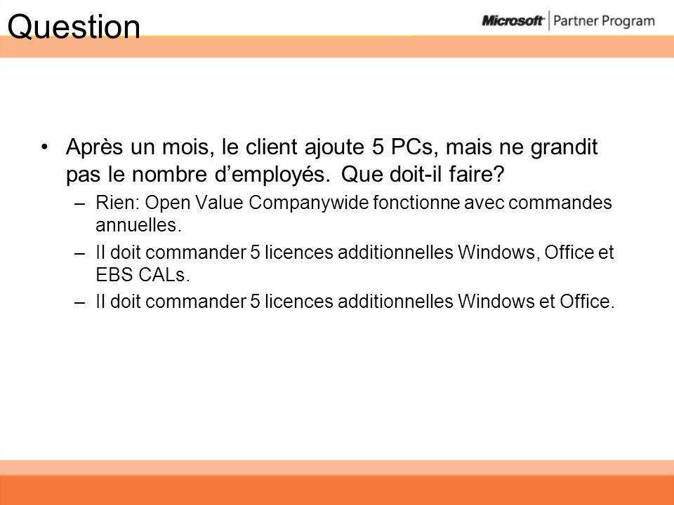 Question Après un mois, le client ajoute 5 PCs, mais ne grandit pas le nombre d'employés. Que doit-il faire