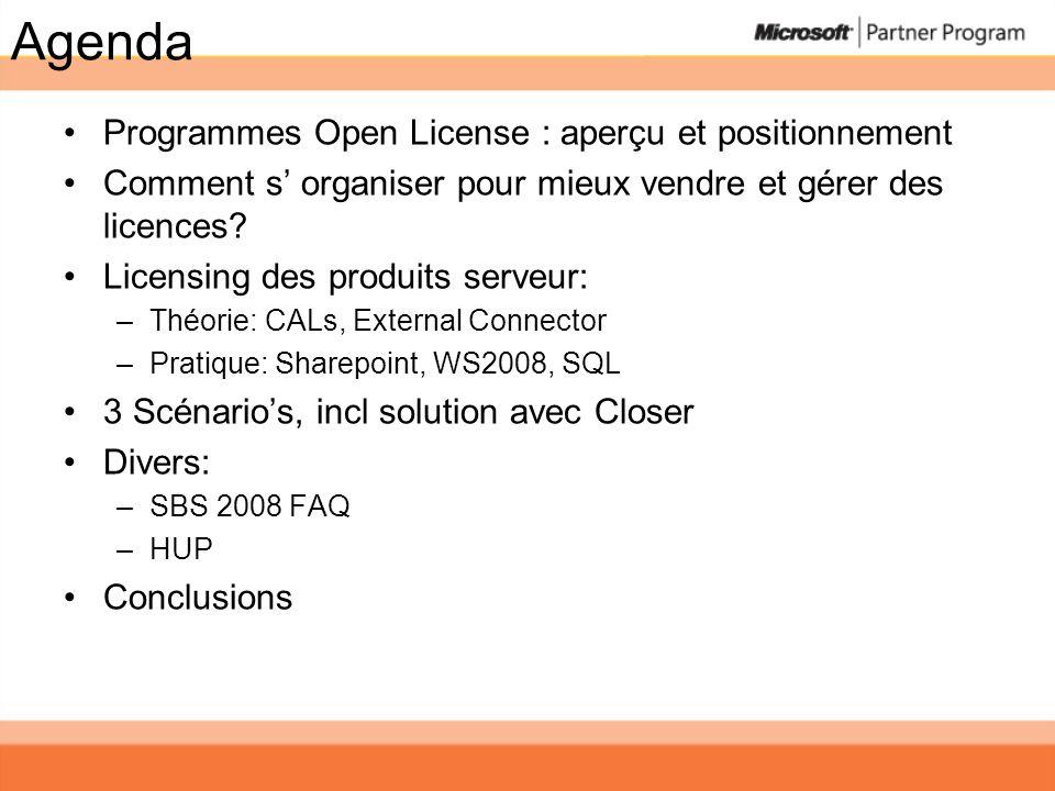 Agenda Programmes Open License : aperçu et positionnement