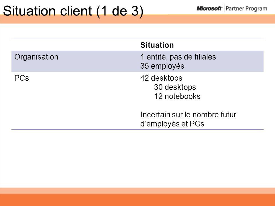 Situation client (1 de 3) Situation Organisation