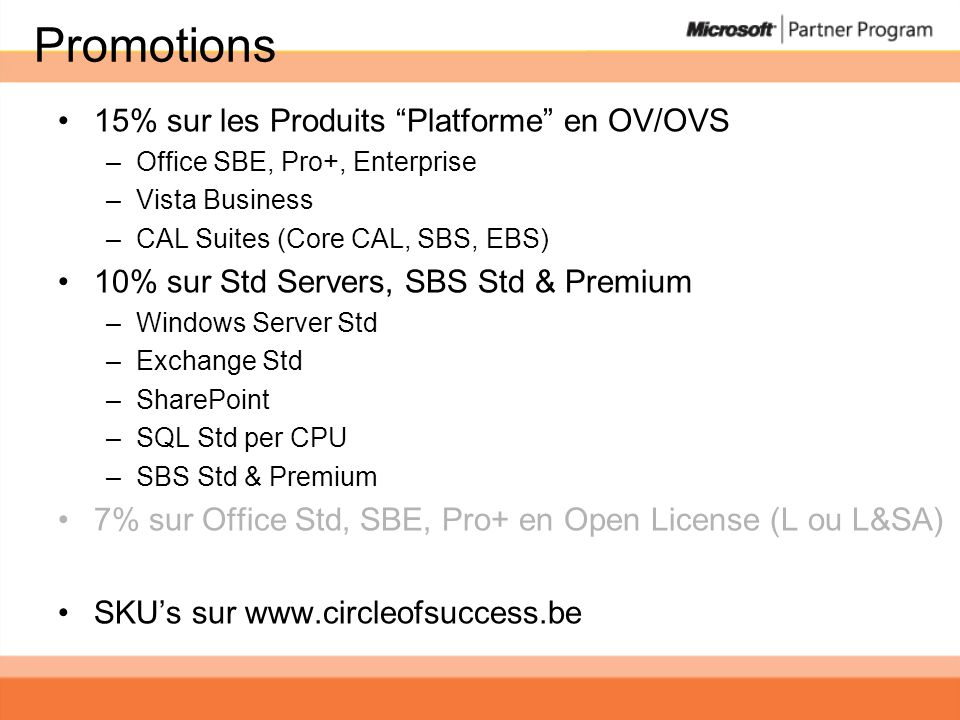 Promotions 15% sur les Produits Platforme en OV/OVS