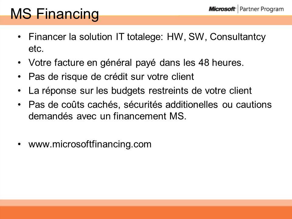 MS Financing Financer la solution IT totalege: HW, SW, Consultantcy etc. Votre facture en général payé dans les 48 heures.
