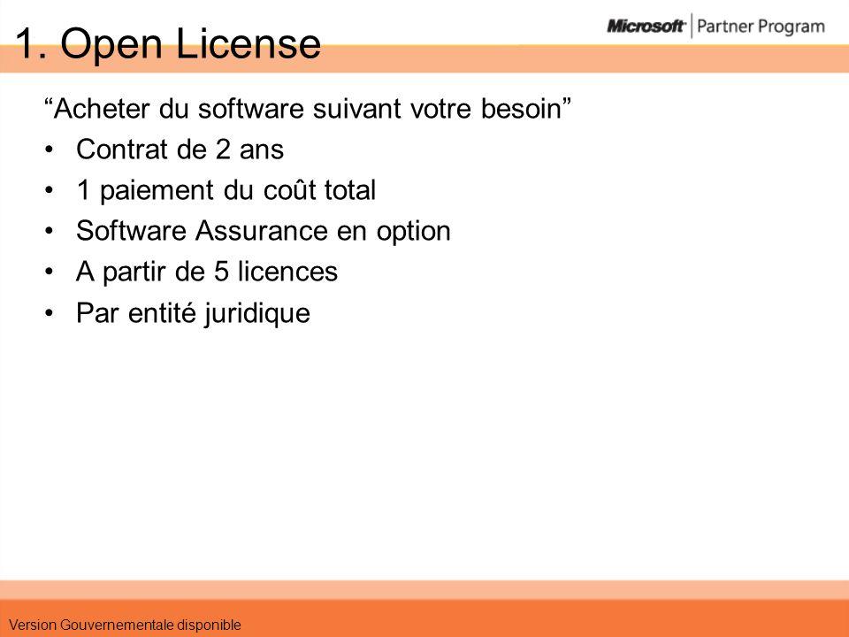 1. Open License Acheter du software suivant votre besoin
