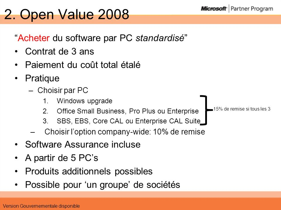2. Open Value 2008 Acheter du software par PC standardisé