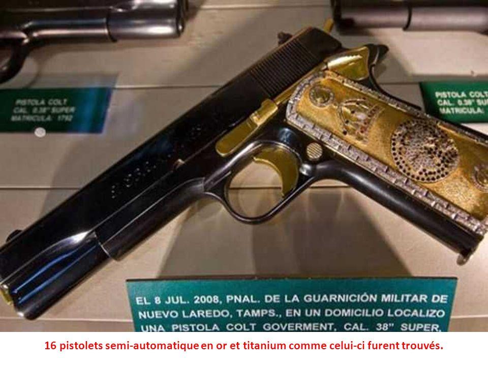16 pistolets semi-automatique en or et titanium comme celui-ci furent trouvés.