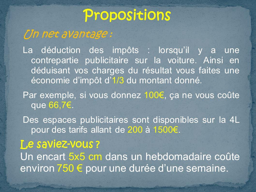 Propositions Un net avantage : Le saviez-vous