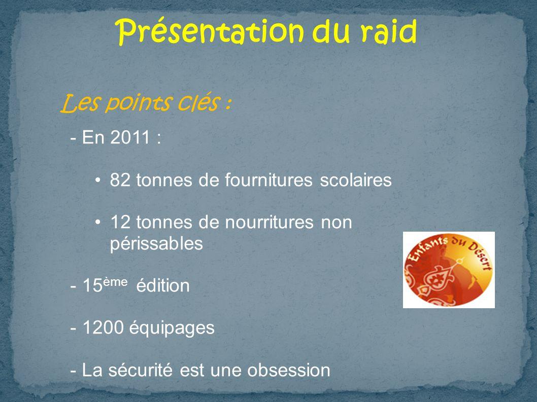Présentation du raid Les points clés : - En 2011 :