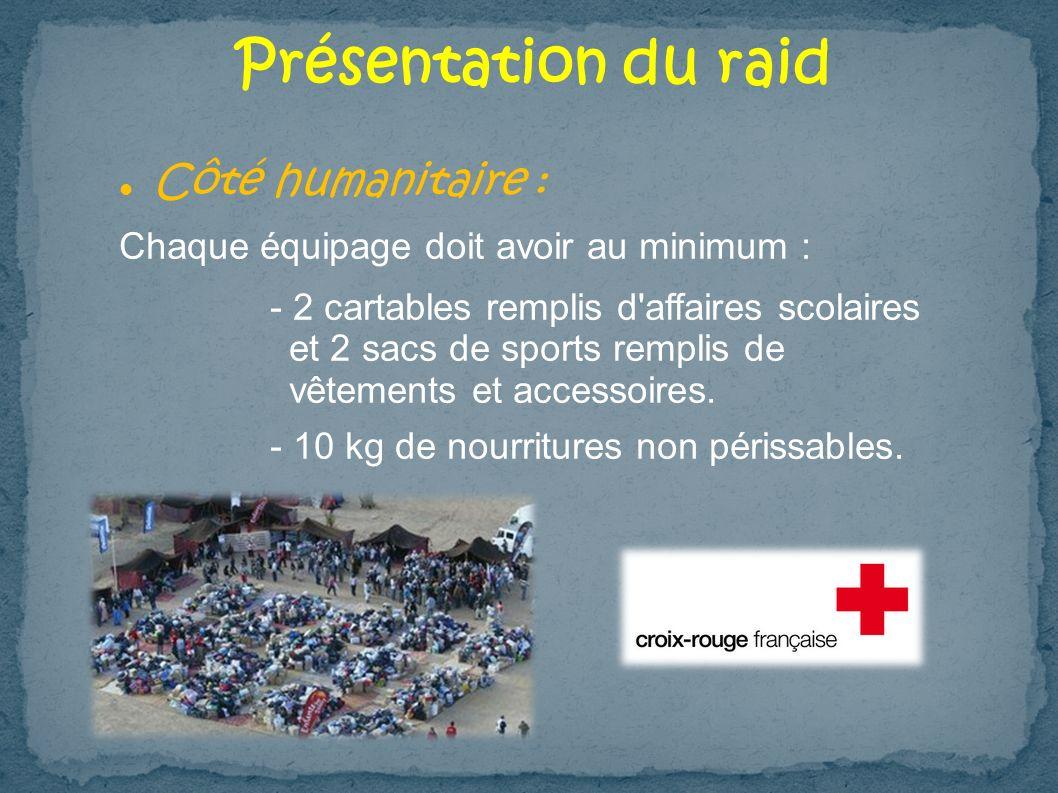 Présentation du raid Côté humanitaire :